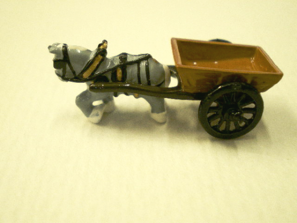 Minnie Maria Horse and Cart. Handmade Pewter Miniature.